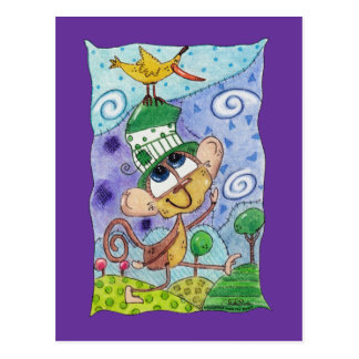 Funky Monkey and Banana Bird Postcard