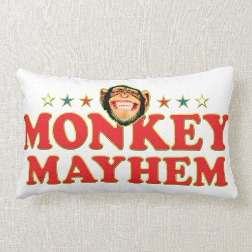 Funky Monkey Mayhem Throw Pillows