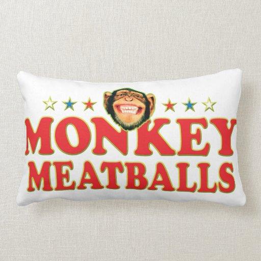 Funky Monkey Meatballs Throw Pillows