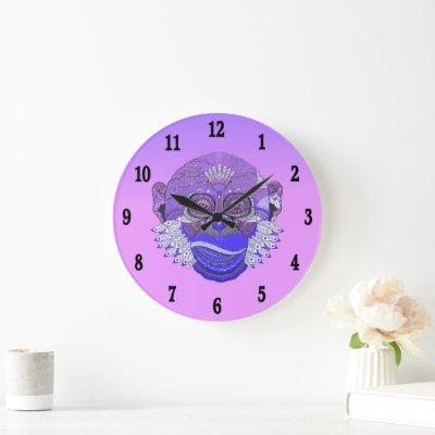 Funky Monkey Tribal Feathers Large Clock