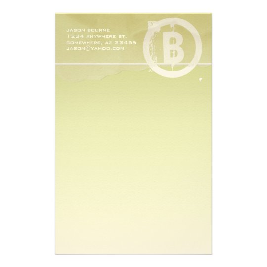 Funky Monogram Lime Stationery
