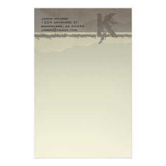 Funky Monogram Taupe Stationery