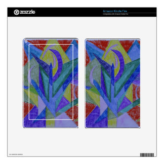 Funky mosaic abstract art decal for kindle fire