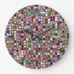 Funky Mosaic Tiles Pattern With Jewel Tones Large Clock
