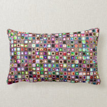 Funky Mosaic Tiles Pattern With Jewel Tones Lumbar Pillow
