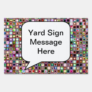 Funky Mosaic Tiles Pattern With Jewel Tones Yard Sign