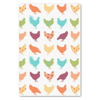 """Funky Multi-colored Chicken Pattern 15"""" X 20"""" Tissue Paper"""