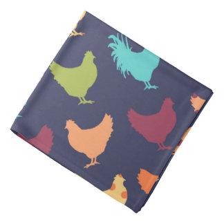 Funky Multi-colored Chicken Pattern Bandana