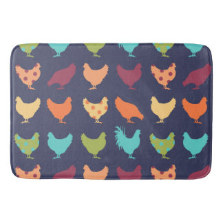 Funky Multi-colored Chicken Pattern Bath Mats