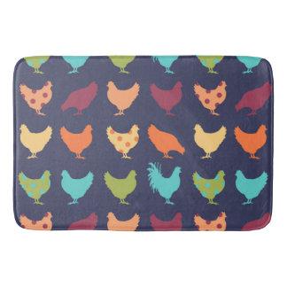 Funky Multi-colored Chicken Pattern Bathroom Mat