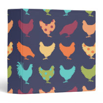 Funky Multi-colored Chicken Pattern Binder