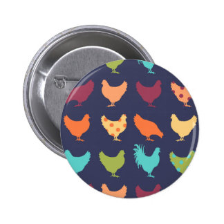 Funky Multi-colored Chicken Pattern 2 Inch Round Button