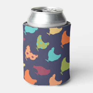 Funky Multi-colored Chicken Pattern Can Cooler