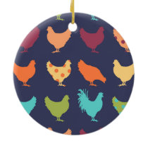Funky Multi-colored Chicken Pattern Ceramic Ornament