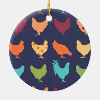 Funky Multi-colored Chicken Pattern Ceramic Ornament