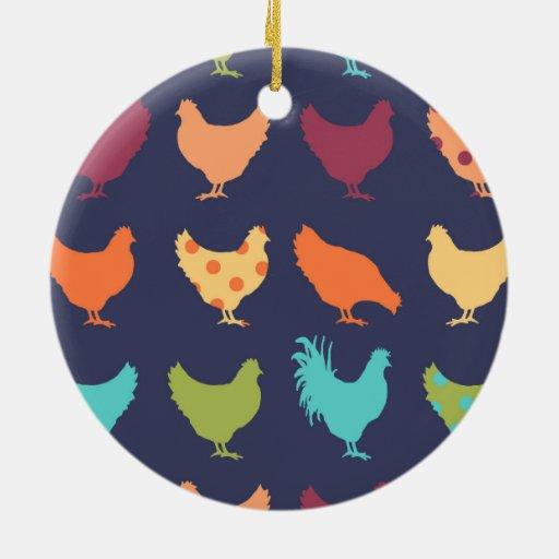 Funky Multi Colored Chicken Pattern Ceramic Ornament Zazzle