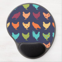 Funky Multi-colored Chicken Pattern Gel Mouse Pad