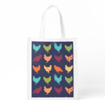Funky Multi-colored Chicken Pattern Grocery Bag