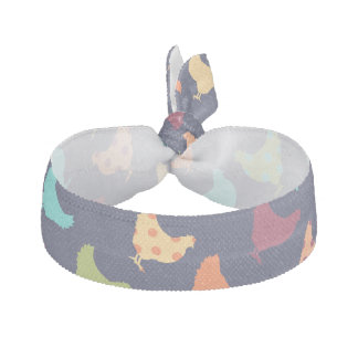 Funky Multi-colored Chicken Pattern Hair Tie