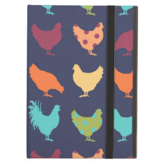 Funky Multi-colored Chicken Pattern Ipad Air Case at Zazzle