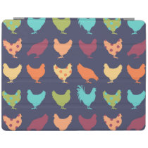 Funky Multi-colored Chicken Pattern iPad Smart Cover