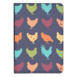 Funky Multi-colored Chicken Pattern Kindle Cover