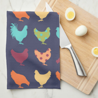 Funky Multi-colored Chicken Pattern Towels