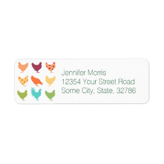 Funky Multi-colored Chicken Pattern Label
