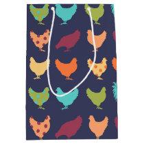 Funky Multi-colored Chicken Pattern Medium Gift Bag