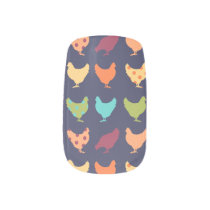 Funky Multi-colored Chicken Pattern Minx Nail Wraps