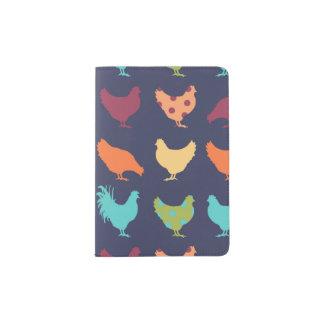 Funky Multi-colored Chicken Pattern Passport Holder