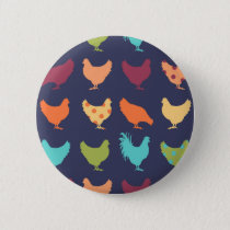 Funky Multi-colored Chicken Pattern Pinback Button
