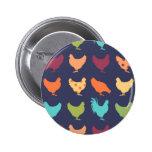 Funky Multi-colored Chicken Pattern Pinback Button
