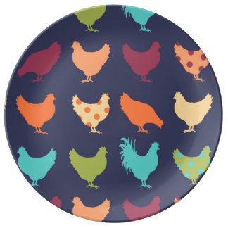 Funky Multi-colored Chicken Pattern Plate