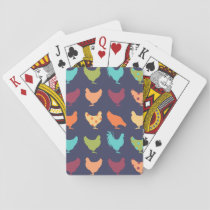 Funky Multi-colored Chicken Pattern Playing Cards