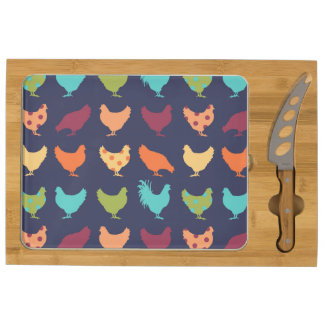 Funky Multi-colored Chicken Pattern Rectangular Cheeseboard