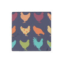 Funky Multi-colored Chicken Pattern Stone Magnet
