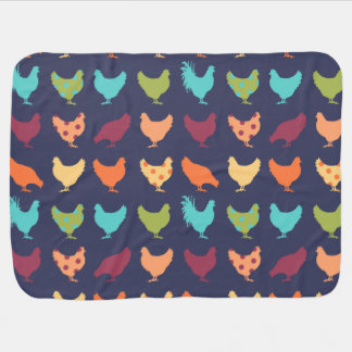 Funky Multi-colored Chicken Pattern Swaddle Blanket