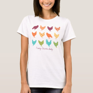 Funky Multi-colored Chicken Pattern T-Shirt