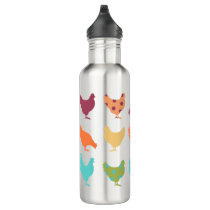Funky Multi-colored Chicken Pattern Water Bottle