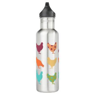 Funky Multi-colored Chicken Pattern Water Bottle