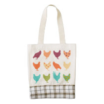 Funky Multi-colored Chicken Pattern Zazzle HEART Tote Bag