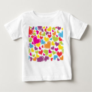 Funky Multi Colored Hearts Design Baby T-Shirt