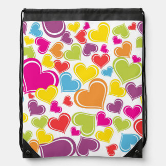Funky Multi Colored Hearts Design Cinch Bags