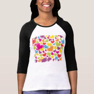 Funky Multi Colored Hearts Design T-Shirt