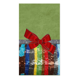 Funky Multi Colored Sequin & Bow Business Card