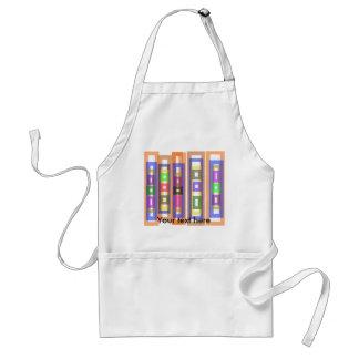 Funky multicolored orange rectangles adult apron