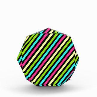 Funky Neon Diagonal Stripes Pattern Awards