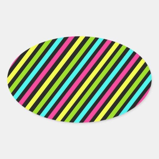 Funky Neon Diagonal Stripes Pattern Oval Sticker