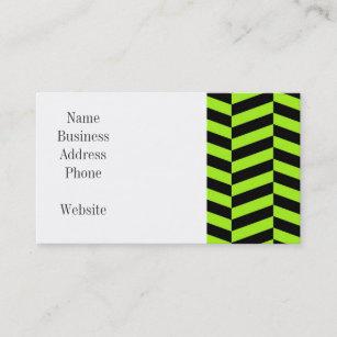 funky neon green and black zig zags chevron business card - Chevron Business Card